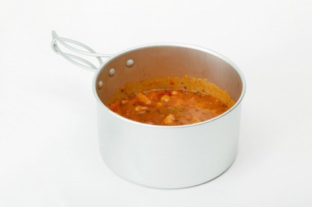 Soup in a pan.