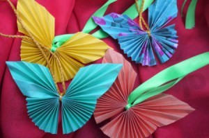 Pleated Paper Butterfly - four completed butterflies
