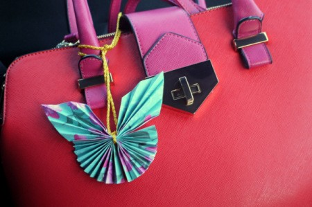 Pleated Paper Butterfly - hang on purse