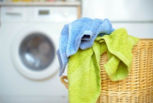 Towels in a laundry basket.