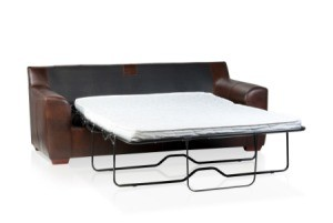 Sofa bed with a metal frame.