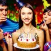 Teens celebrating at a birthday party.
