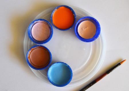 Recycled Milk Bottle Caps Palette - paint in bottle caps on lid palette