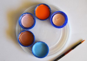 Recycled Milk Bottle Caps Palette - paint in bottle caps on lid palette