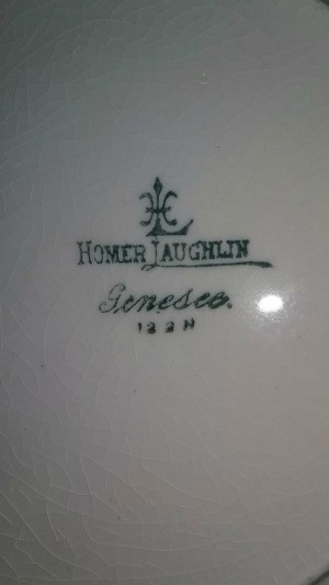 Homer Laughlin logo on the back of a plate.