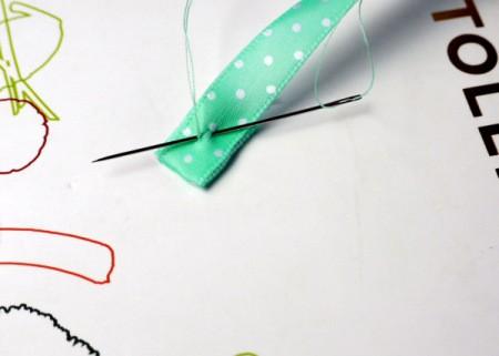 Elasticated Ribbon Bookmark - stitch