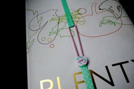 Elasticated Ribbon Bookmark - fold ends over the cover and button