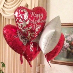 A bunch of Valentine's day themed balloons from the Dollar Tree.