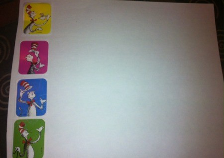 Dr. Seuss Matching Game - turn paper horizontal and place 4 stickers on left side