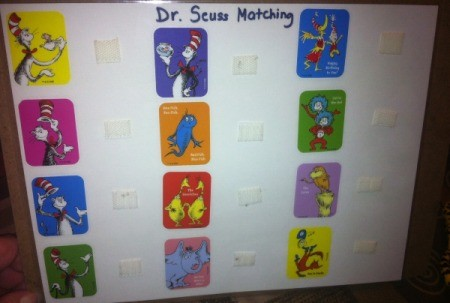 Dr. Seuss Matching Game - add two more rows, laminate page and add hard Velco next to stickers