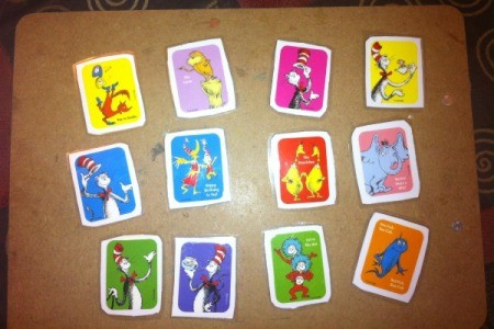 Dr. Seuss Matching Game - place other set of matching stickers on separate piece of paper cut and laminate
