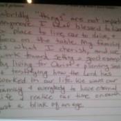 A handwritten note.