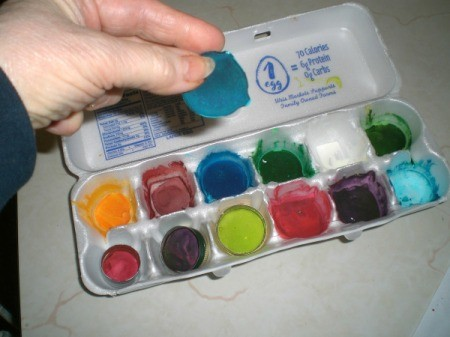 Homemade Watercolor Paint Recipe - after drying you can remove the paint from the egg carton in chunks