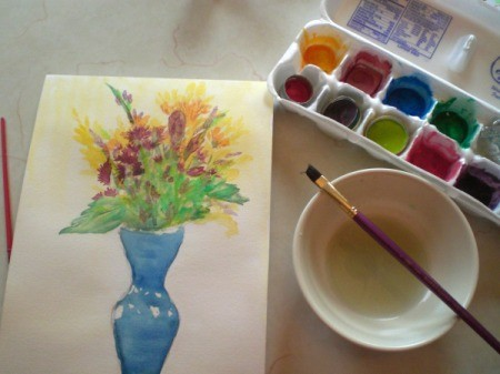 Homemade Watercolor Paint Recipe - paints and a picture paints using them
