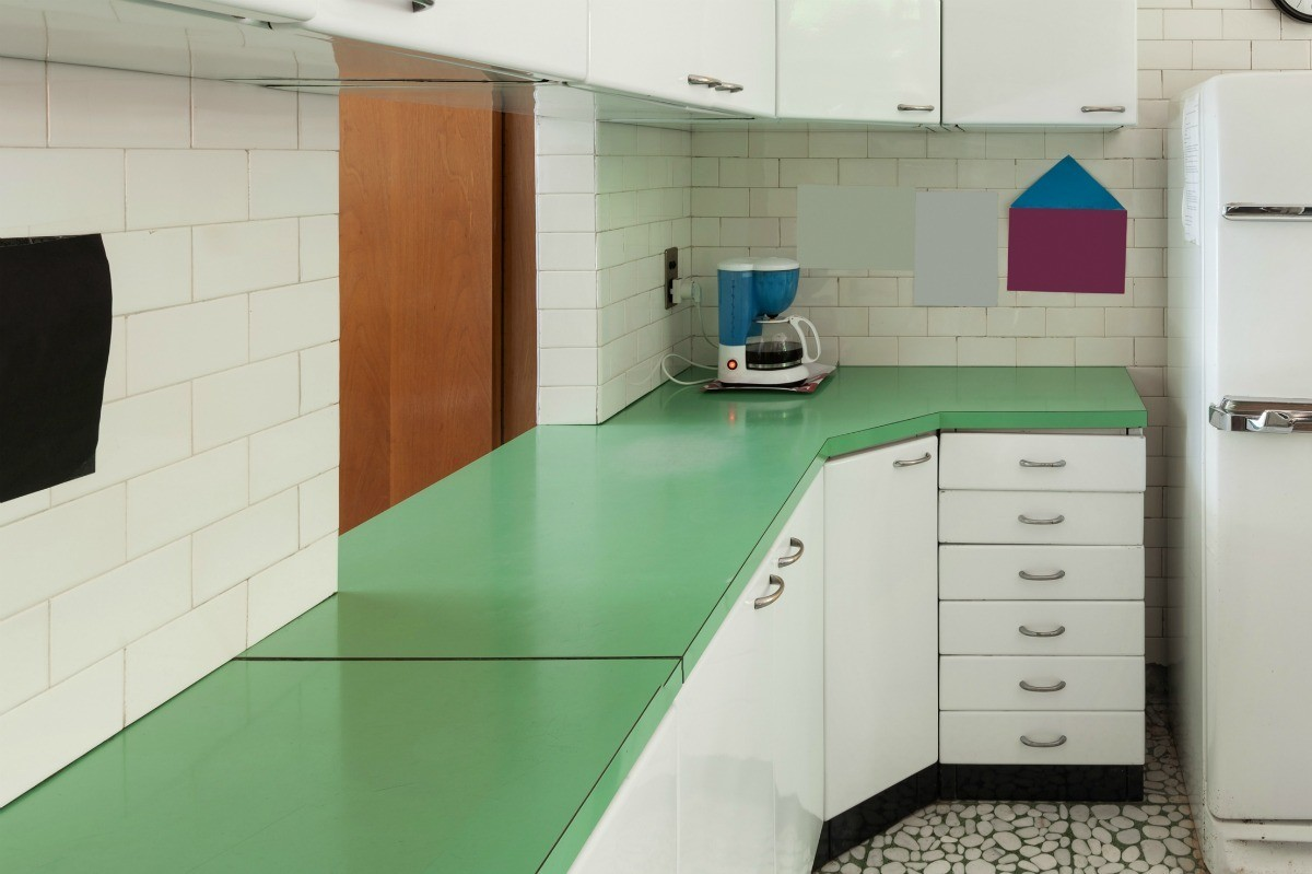 Old Kitchen With Green Laminate Countertops It Is Possible To Lay New Over