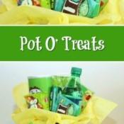 Pot O' Treats - St. Patrick's day gift idea with a pot gull of treats.