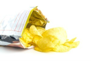 An open bag of potato chips.