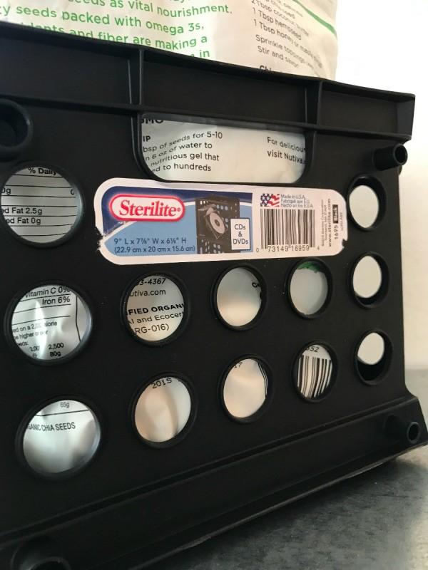 A plastic storage crate.
