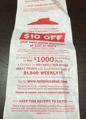 Check Receipts for Discounts - discount offer on back side of receipt