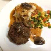 Salisbury Steak with Mushroom Gravy on plate