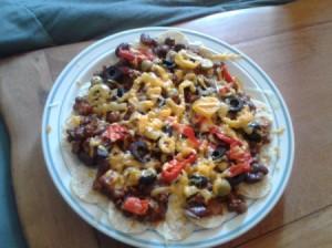 Chili Cheddar Nachos on a plate