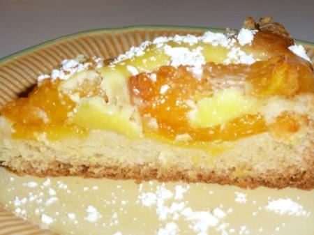 A slice of apricot coffeecake.