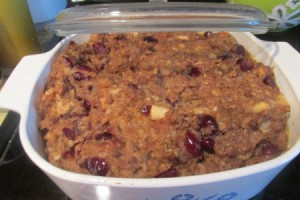 stuffing baked in dish