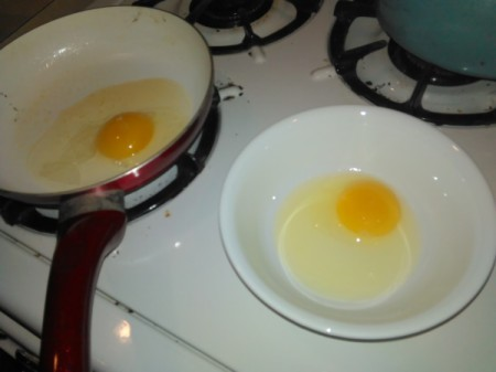 Crack Eggs into Separate Bowl - egg in a bowl ready to fry