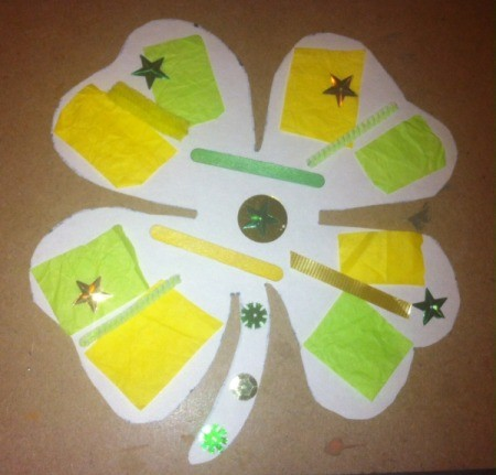 Four-Leaf Clover Collage - glue on yellow and green items from supply list