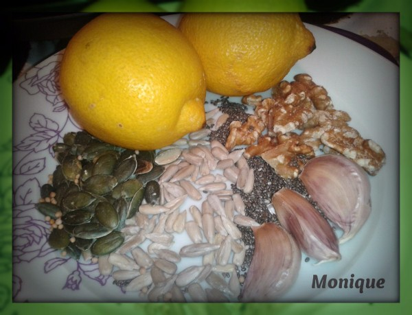 Seeds, grains, garlic and lemon to add to food for extra nutrition.