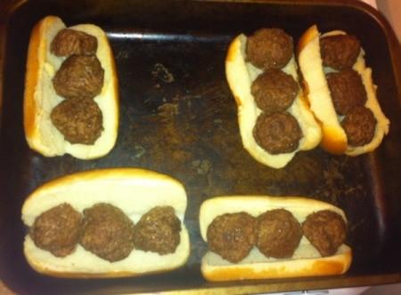 meatballs on hotdog buns