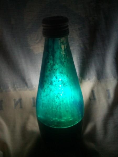 DIY Lava Lamp - blue lamp in darkened room