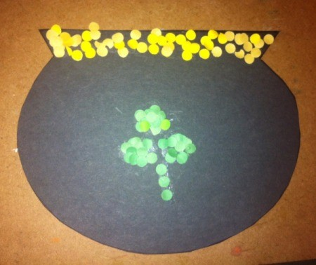 Hole-Punch St. Patrick's Day Art - add yellow punches to top of pot for gold, you can make a shamrock too