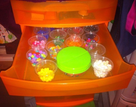 How to Sort and Organize Craft  Beads - drawer filled with plastic containers of beads