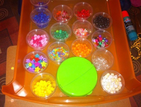 How to Sort and Organize Craft Beads - drawer removed from unit to work with beads
