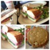 Pictures of sandwiches and a cookie.