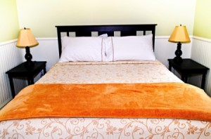 A freshly made bed.