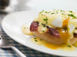 Eggs Benedict at a Mother's Day Brunch.