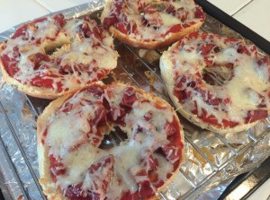 Pizza Bagels on grill