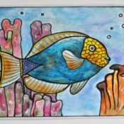 Sea-Loving Adult Coloring Birthday Card - drawing colored with colored pencils and blended for lovely effect
