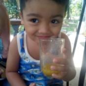 boy drinking smoothie