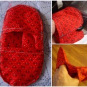 Pot Holders from Shoulder Pads- three images of finished holder