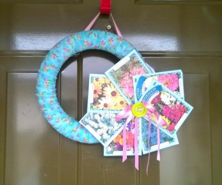 Spring Seed Packet Wreath - finished wreath