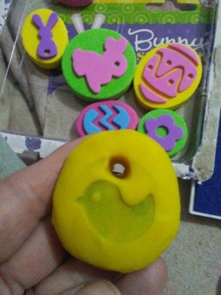 Play-Doh Stamping Activity for Children - chick stamped on Play Doh