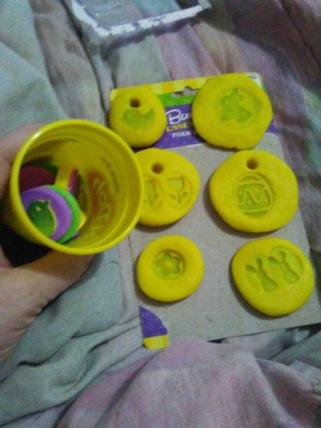 Play-Doh Stamping Activity for Children - foam stamps in empty Play Doh container