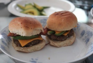 assembled mini burger sliders on plate