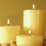 Three pillar candles.