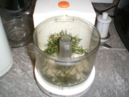 chopped rosemary in blender