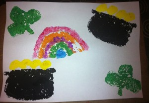 St. Patrick's Day Sponge Paintings - combined shapes print