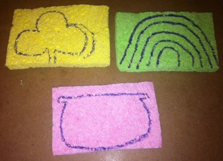 St. Patrick's Day Sponge Paintings - use a permanent marker to draw the shamrock, rainbow, and pot